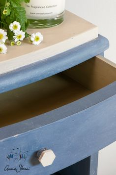 Side table painted with Chalk Paint® by Annie Sloan in Old Violet and paired with Country Grey on the top and inside the drawers.