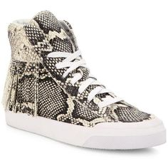 Loeffler Randall Delaney Fringe Snake-Embossed Leather High-Top... (12.250 RUB) ❤ liked on Polyvore featuring shoes, sneakers, apparel & accessories, lace up sneakers, leather shoes, leather sneakers, flatform sneakers and lace up shoes