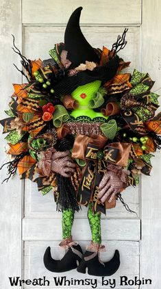 XL Halloween Witch Wreath, Halloween Decor, Witch Decor, Fall Wreath, Halloween Party, Halloween Door, Green Orange Halloween Halloween Witch Wreath, Halloween Party, Seasonal Decor, Fall Decor, Halloween Table Decorations, Witch Decor, Corrugated Box, Wreath Supplies, Pumpkin Wreath
