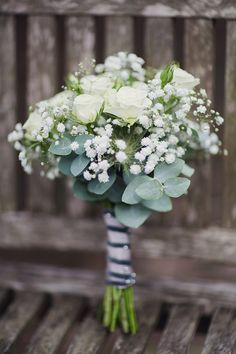 Bohemian Rustic Country Chic Wedding Gypsophila Rose White Bouquet http://www.lifelinephotography.co.uk/