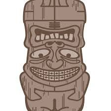 """""""Tiki"""" logo for a local orthodontic clinic here in AZ. Well-known group with a surfboard theme designed by Peter Jones, who I almost used to design Lydian's logo. Really clever. If you turn the logo upside down, you get an angry looking guy with crooked teeth.Tiki goes around to all the schools visiting kids."""
