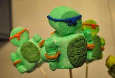 Teenage Mutant Ninja Turtles party. Marshmallow pops.