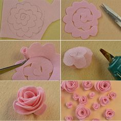 How to Make Pink Felt Rose Wind Chime With Pearl Dangles for House Decoration: Wanna make some beautiful wind chimes for your house at weekends? How about this beautiful pink rose wind chime with pearl dangles? Paper Flowers Diy, Handmade Flowers, Flower Crafts, Fabric Flowers, Ribbon Flower, Felt Flowers Patterns, Zipper Flowers, Rose Crafts, Potted Flowers