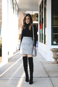 8f9d27b99 cute plaid mini skirt with over the knee boots and turtleneck. Casual Skirt  Outfits,