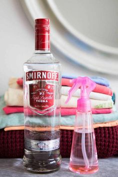 Hacks for Fixing Ruined Clothes - Laundry and Cleaning Ideas - Good Housekeeping - spray vodka on clothes to eliminate odors? Dousing the house in vodka, my kind of cleaning Stain On Clothes, Diy Clothes, Smelly Clothes, Red Wine Stains, Smirnoff, Clothing Hacks, Clothing Organization, Closet Organization, Diy Cleaning Products