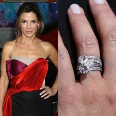 """Jesse James design a vintage-inspired engagement ring for Sandra Bullock with the theme of """"You and Me."""" The ring has two intertwined diamonds and a diamond pave wedding band"""