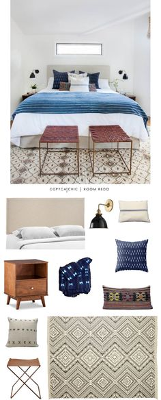An indigo boho master bedroom designed by @amberinteriors and recreated for $1510 by @lindseyboyer for Copy Cat Chic #roomredo