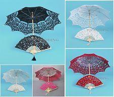 Wedding Photo Props Bridal Sun Umbrella Bridesmaid Lace Parasol Hand Fan Set NEW