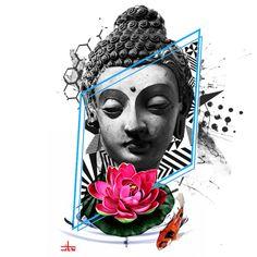 Buddha Tattoo Design, Buddha Tattoos, Skull Tattoo Design, Body Art Tattoos, Art Buddha, Buddha Painting, Third Eye Tattoos, Street Art News, Shiva Tattoo