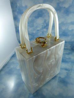 Gorgeous Mid-Century Stylecraft Miami Pearlized Lucite Box Purse/Bag