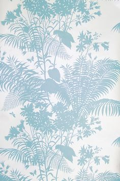 Shadow Floral Wallpaper Striking silver wallpaper with floral silhouette design in aqua blue. Textile Patterns, Textile Prints, Floral Prints, Textile Design, Textiles, Florence Broadhurst, Silver Wallpaper, Contemporary Wallpaper, Watercolor Leaves