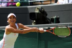 Su-Wei Hsieh lunges to reach a backhand during her match against Maria Sharapova on No. 1 Court. - Neil Tingle/AELTC
