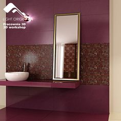 Bathroom, Best Bathroom Designs: Modern Bath Textured Tiles Fuschia Walls