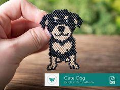 Seed Bead Patterns, Beading Patterns, Stitch Patterns, Craft Kits For Kids, Bead Loom Bracelets, Dog Pattern, Beaded Animals, Brick Stitch, Loom Beading