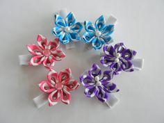 Baby hair clips, pick a color, kids hair clips, toddler hair clips, flower hair clips, hair accessories, kanzahsi flower by CarmelasDesigns on Etsy