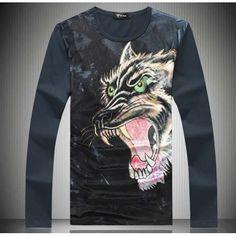 Angry wolf pattern animal print blue men's #blue cotton #TShirt