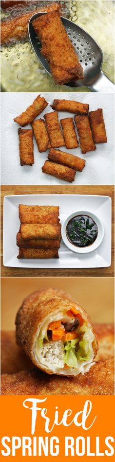 Chicken & Veggie Spring Rolls Ring In Spring Time And Enjoy These Awesome Deep-Fried Spring Rolls Veggie Spring Rolls, Fried Spring Rolls, Appetizer Recipes, Snack Recipes, Cooking Recipes, Snacks, Veg Recipes, Tasty Videos, Food Videos