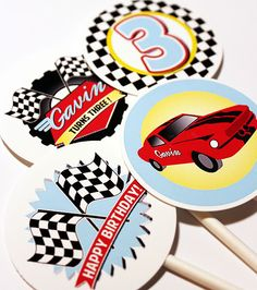 Race Car #Party #Stickers, Gift #Tags or Cupcake #Toppers by BushelandPeckPaper on Etsy https://www.etsy.com/listing/237498997/race-car-party-stickers-gift-tags-or