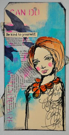 """We are so pleased to welcome the extraordinarily talented Dina Wakley as a guest writer [On the Blog]. Click the pic to see how to recreate her """"Be Kind to Yourself"""" mixed-media tag."""