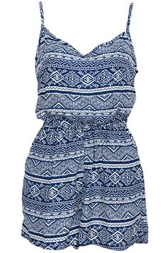#ROMWE | Retro Ethnic Print Camisole Blue Playsuit, The Latest Street Fashion