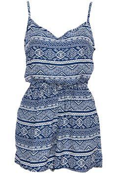 #ROMWE | Retro Ethnic Print Camisole Blue Playsuit, The Latest Street Fashion