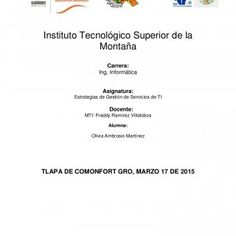 Instituto Tecnológico Superior de la Montaña Carrera: Ing. Informática Asignatura: Estrategias de Gestión de Servicios de TI Docente: MTI: Freddy Ramírez Vi. http://slidehot.com/resources/ti.37508/
