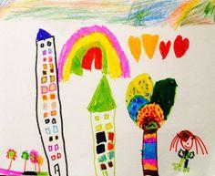 """""""Ville aux mille couleurs"""" par une petite fille de 6 ans, pour le concours """"dessine ta ville idéale"""" sur la little gallery."""