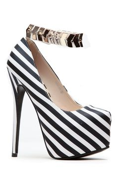 Sugar Love Striped Gold Cuff Platform Heels @ Cicihot Heel Shoes online store sales:Stiletto Heel Shoes,High Heel Pumps,Womens High Heel Shoes,Prom Shoes,Summer Shoes,Spring Shoes,Spool Heel,Womens Dress Shoes