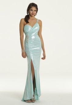 Camille La Vie Foil One Shoulder Jersey Prom Dress - Style # 21050/11359