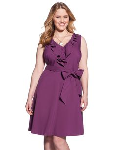 Belted Ruffle Neck Dress - Women's Dresses & Plus Size Dresses - eloquii by The Limited