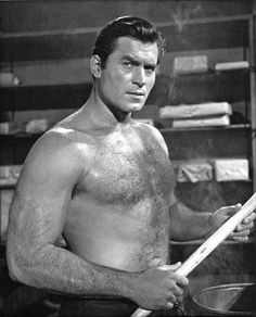 Clint Walker showing off his first rate physique. Clint Walker Actor, Cheyenne Bodie, Mode Pin Up, Tv Westerns, Beefy Men, Old Movie Stars, Western Movies, Hairy Chest, Twin Sisters