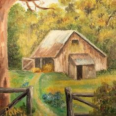 Hay Barn Painting 6x6 Deep Canvas Acrylic   | eBay