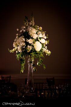 Tall white centerpieces wedding