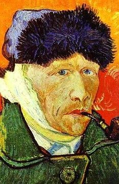 Van Gogh- Self Portrait with a Pipe (detail), 1889