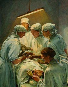 "Una operación en el Hospital Militar Endell Street (""An Operation at the Military Hospital, Endell Street""). Francis Dodd. 1920. Localización: Imperial War Museum (Londres). https://painthealth.wordpress.com/2016/03/30/una-operacion-en-el-hospital-militar-de-endell-street/"