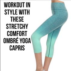 Ombré Aqua Capri Yoga Pants Work out in style with these stretchy comfortable luxury ombré aqua colored yoga capris. Reinforced stitching for leg and tummy control. Size S/M fits 2-8 and L/XL fits 10-14. Price is firm. Customers love these! Very well made, stretchy and high quality. Check out my other listings for more sizes and colors! Cold water wash. You may purchase this listing as I've created individual listings for both size options. ValMarie Boutique Pants Capris
