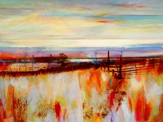 Kate Boyce - Glowing Remains Of The Day, Wadsworth Moor. Landscape Artwork, Abstract Landscape, Abstract Art, Costa, Seascape Paintings, Acrylic Paintings, Watercolor Canvas, Online Painting, Pictures To Paint