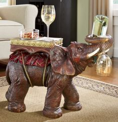 Tantor Wine Caddy Table from Seventh Avenue ® Elephant Table, Elephant Home Decor, Exotic Homes, Wine Caddy, Living Room Themes, Wine Table, Novelty Gifts, Unique Furniture, Home Decor Accessories