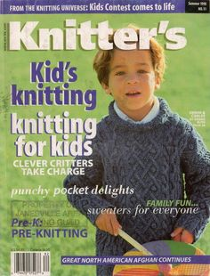 Knitters 51 Summer 1998 Kids Sweaters Puppet Hat Vest Doll Debbie Bliss, 96 pages, 27 Patterns. Knitting patterns for kids, family sweaters, kid-friendly toys, hats and puppets. #KnittersMagazine #MagazineBackIssue