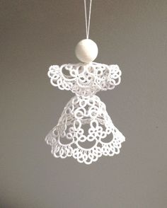 Bianco tatted Angel decorazione di Natale di SILHUETTE su Etsy