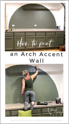 How to paint an arch accent wall easliy with string Accent Walls In Living Room, Accent Wall Bedroom, Home Reno, House Goals, Painting Cabinets, Diy Wall, Wall Decor, White Walls, Decoration