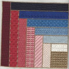 Log Cabin Needlepoint Stitch Sampler Free Pattern uses an offset block to showcase 13 stitches in project by needlepoint expert Janet M. Perry.