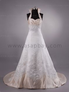 A Line Halter Chapel Train Wedding Dress H1lblb0613 [ h1lblb0613 ] - $289.00 : Hot Selling Purple Wedding Dresses