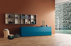 Groove Sideboard by Sangiacomo, Italy in gloss Petrolio lacquer combined with the Alias unit in Ash Oak veneer. Manufactured By San Giacomo.