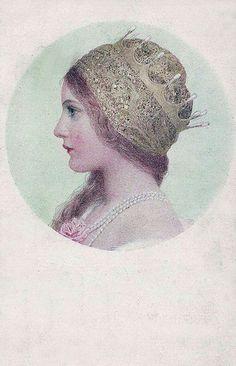 Unknown artist, vintage postcard published by M. Art And Illustration, Illustrations, Princess Illustration, Art Nouveau, Art Deco, Pre Raphaelite, Oeuvre D'art, Fairy Tales, Medieval