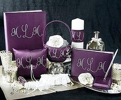 Crystal Monogram Collection Wedding Accessories Set with Memory Book