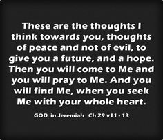 These are the thoughts I think towards you, thoughts of peace and not of evil, to give you a future, and a hope. Then you will come to Me and you will pray to Me. And you will find Me, when you seek Me with your whole heart.