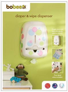 Bobee diaper stacker and wipe caddy. Customize it to match your nursery room decor.  Add colorful decals or paint and stencil for a unique DIY look at match the baby room.