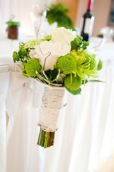 Vintage white and green wedding flowers