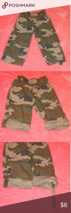 The Childrens Place Size 24 Months Camo Pants Size 24 Months Camouflage Pants from the Childrens Place, pant legs can be rolled up with attached velcro tabs Children's Place Bottoms Casual
